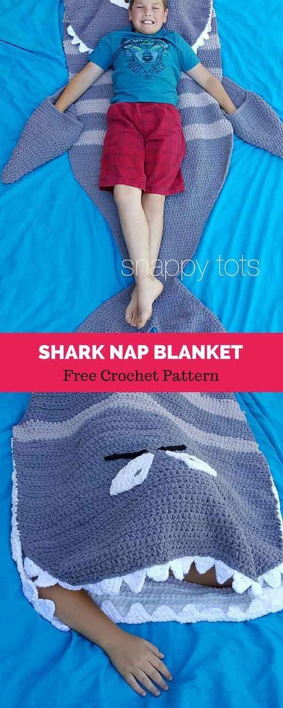 Shark Nap Blanket [ FREE CROCHET PATTERN | Cash crochet | Pinterest ...