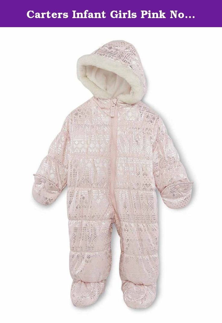 c427fe292c61 Carters Infant Girls Pink Nordic Print Snowsuit Baby Pram Snow Sui ...
