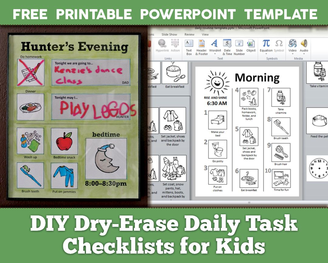 Diy DryErase Daily Routine Checklists For Kids With Free
