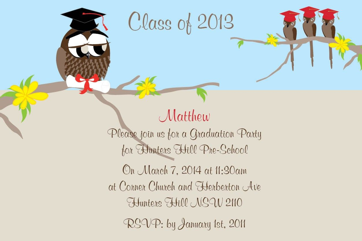 Graduation Owl Postcard In Nude Invitation Impressive Invitations - Party invitation template: graduation party invitation postcard templates free
