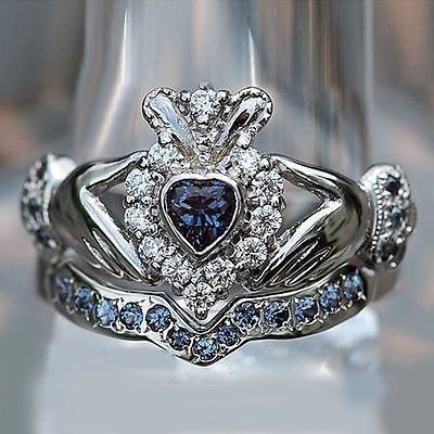 Heart Shape Shire Diamond White Gold Plated Bridal Ring Set Claddagh Rings And