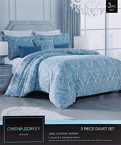 Amazon Com Cynthia Rowley Bohemian Duvet Cover Luxury Boho Style Vibrant Paisley Print Full Queen Or King Size 3 P King Bedding Sets Duvet Covers Bohemian Bed