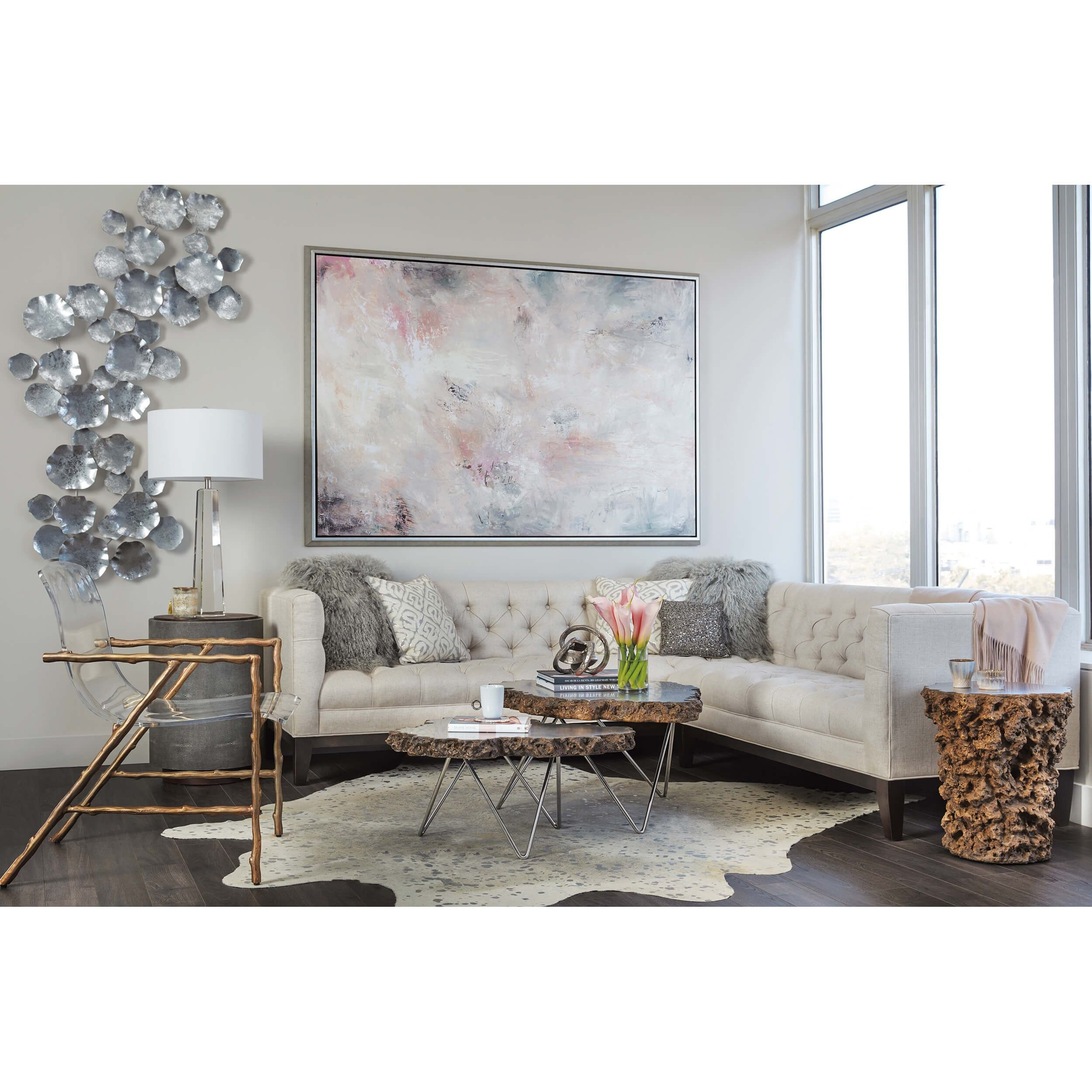 Dillard Acrylic Chair, Faux Bois Luxe Fabric Chairs