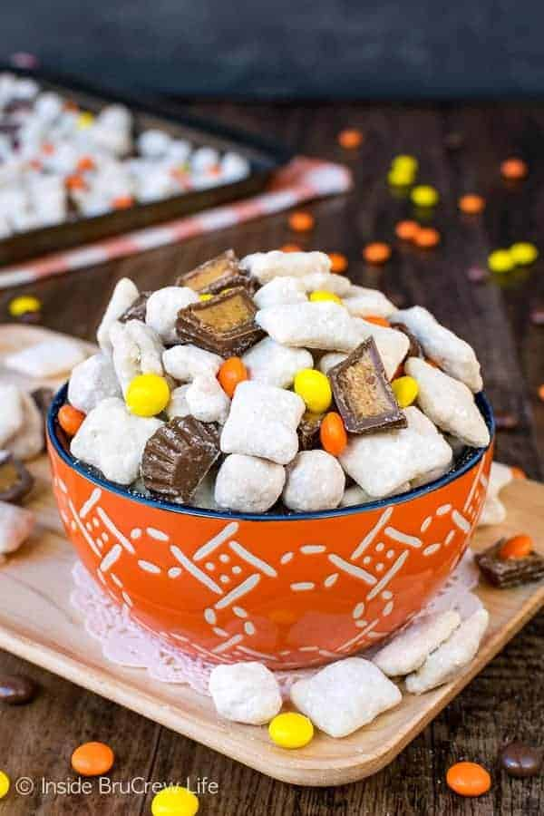 Peanut Butter Cup Puppy Chow easy snack mix loaded with