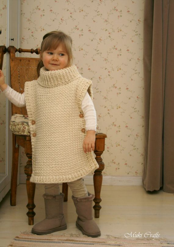 CROCHET PATTERN poncho Scarlett with turtleneck and buttons (toddler ...