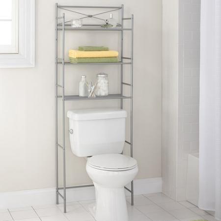 Mainstays 3 Shelf Bathroom Over The Toilet Space Saver With Liner Satin Nickel Walmart Com Bathroom Space Saver Bathroom Space Space Savers