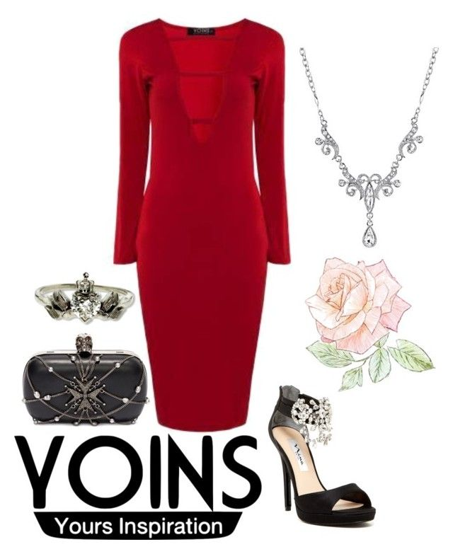 """""""Yoins red"""" by pandoraslittlebox ❤ liked on Polyvore featuring Alexander McQueen, 1928, Metal Couture, women's clothing, women, female, woman, misses and juniors"""