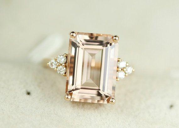 5 5 Karat Morganit Verlobungsring Diamanten 14k Von Steveleejewelry