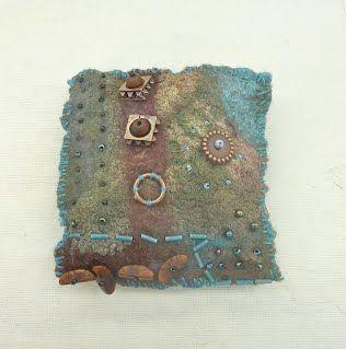 Head dyed and beaded nuno felt brooch