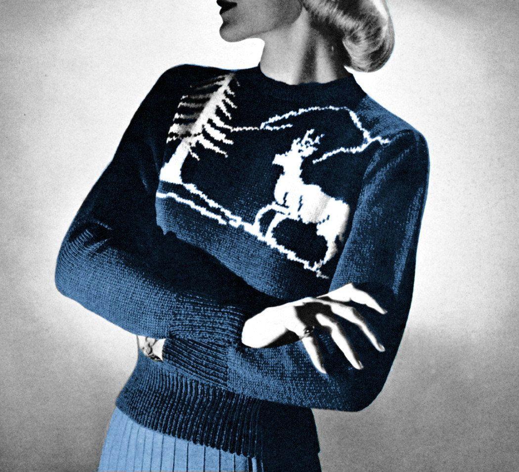 1950s Reindeer Ski Sweater Nordic Scandinavian Jumper ...