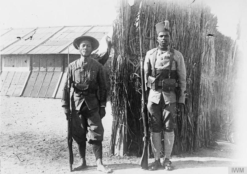 Two French colonial soldiers, an Annamite (Vietnamese) and a Malagasy tirailleurs, at Zeitenlik in Salonika, July 1917.