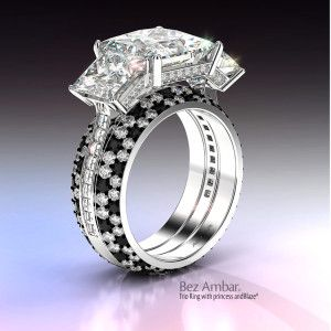 three-stone-engagement-ring-with-pave-under bezel-princess-and-blaze-and-black-and-white-diamond-ring-enhancers-by-bez-ambar