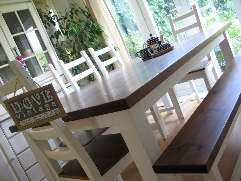 Large Chunky 6ft Pine Dining Table 8 Seater 5 Chairs And Bench