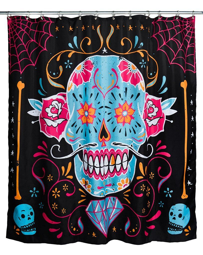 at Amazon Calavera Shower Curtain Black: http://amzn.to/2bBy801