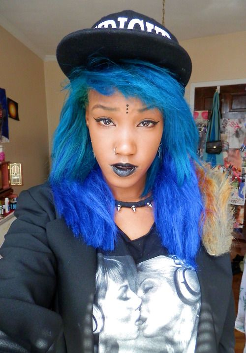 Blue Hair Blue Ombre Hair Natural Hair Edgy Blue Ombre Hair