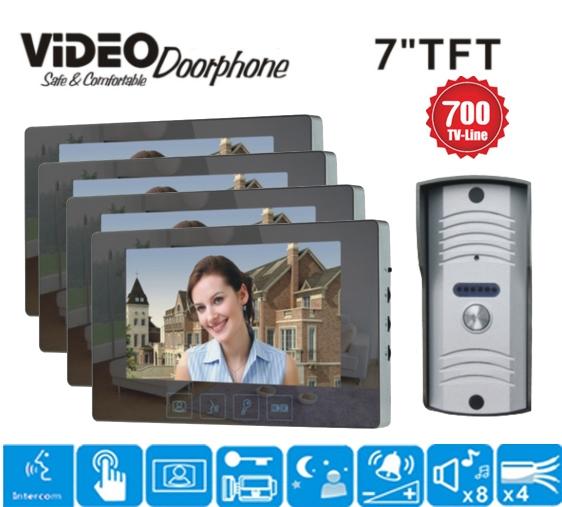 367.65$  Watch here - http://alip6z.worldwells.pw/go.php?t=32775205763 - ZHUDELE  7 inch color screen video door phone intercom monitor speaker pinhole camera rain cover kit 1camera+4 monitors