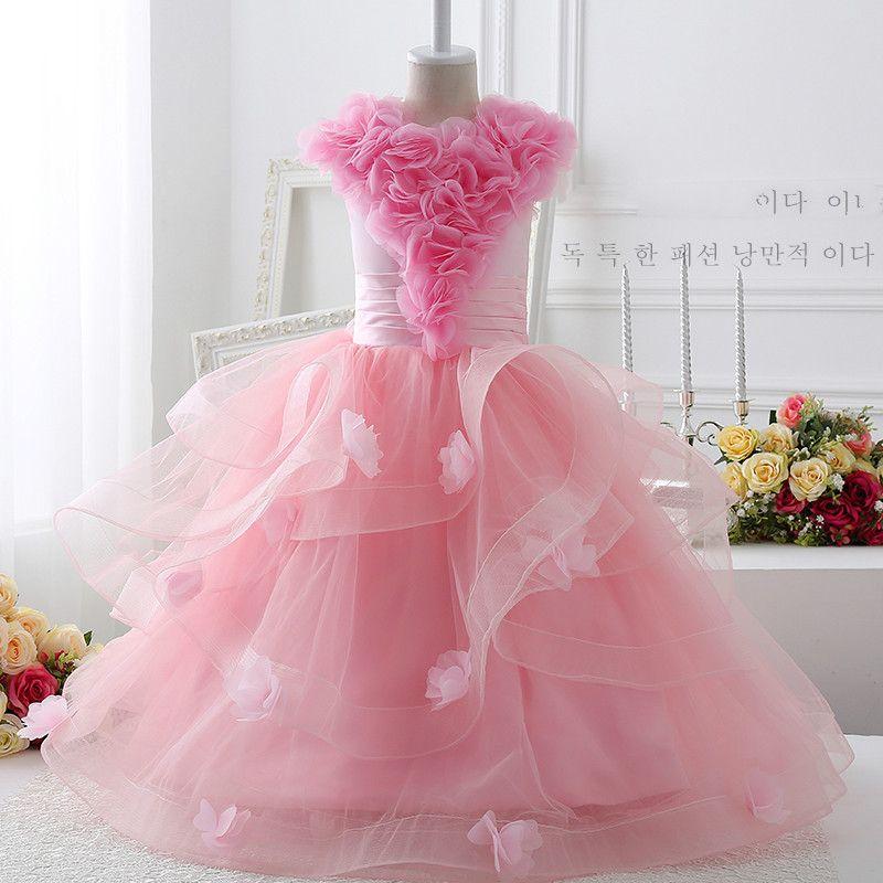 kids prom dresses beautiful girls wedding dresses pink floor length ...