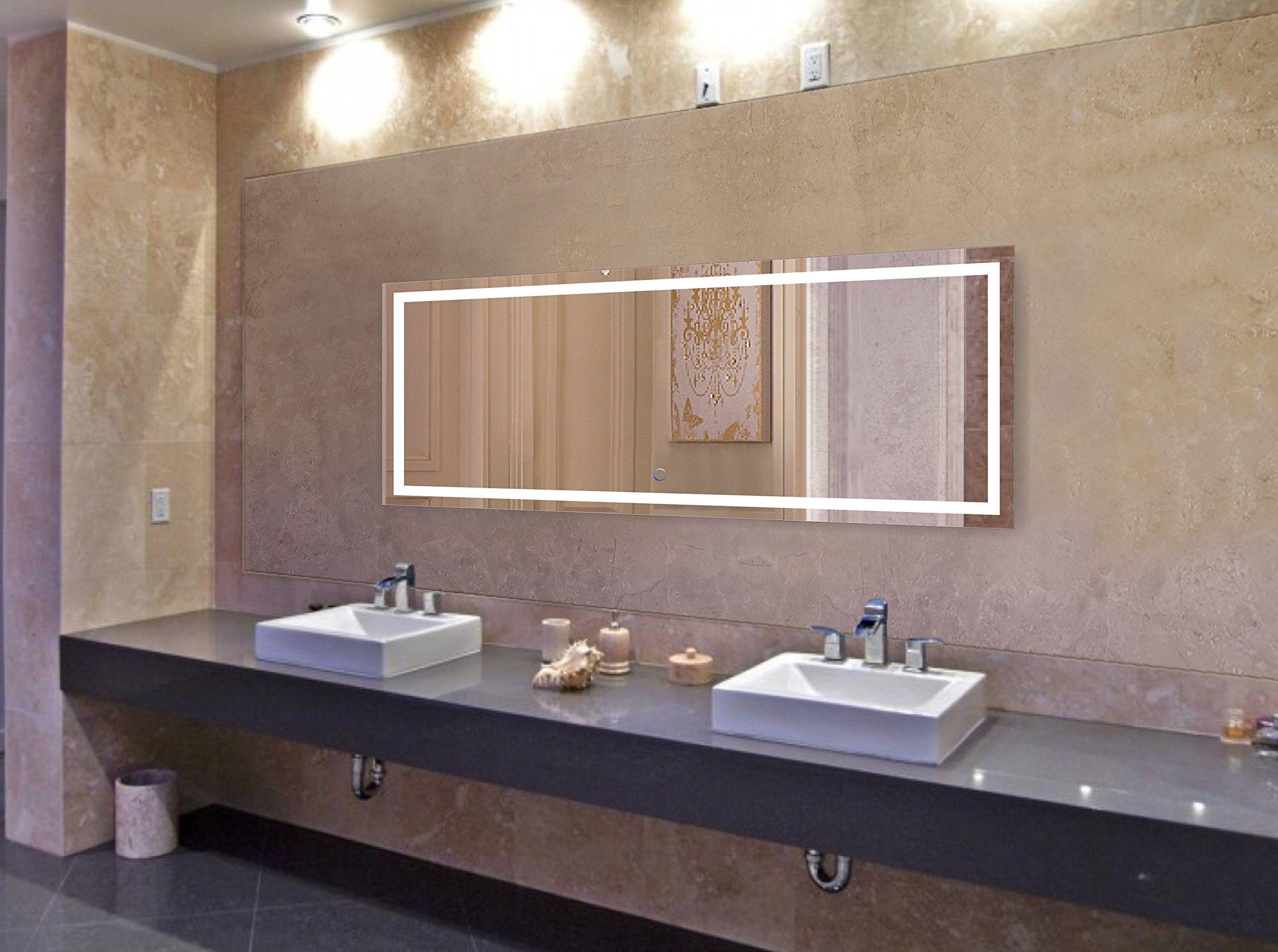 Krugg large inch x inch led bathroom mirror lighted vanity