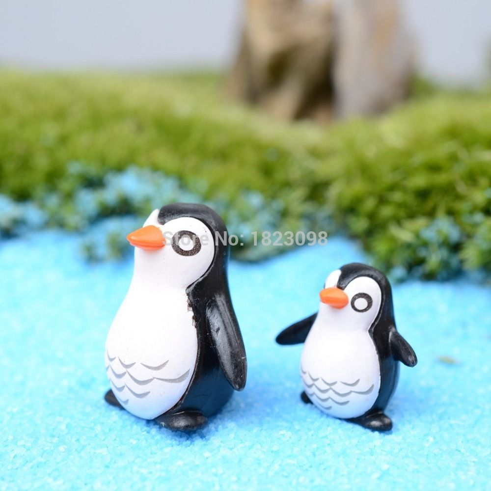 2pcs/lot mini animals resin penguin 1-2cm fairy garden decor crafts ...