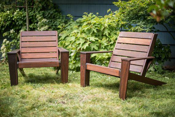 Custom Ipe Modern Adirondack Chairs Wood Outdoor Furniture Rustic Patio
