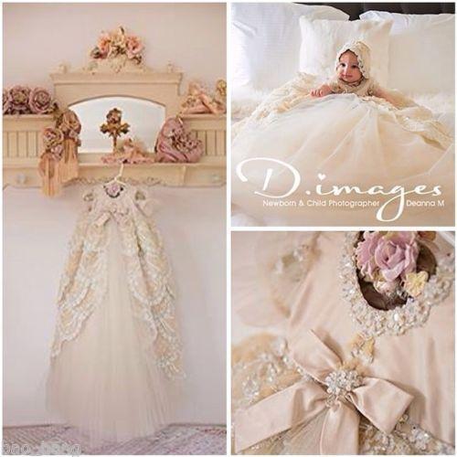 3dd178ec1 New-Baby-Baptism-Dress-Girl-Boy-White-Ivory-Christening-Gown-Luxury -With-Bonnet