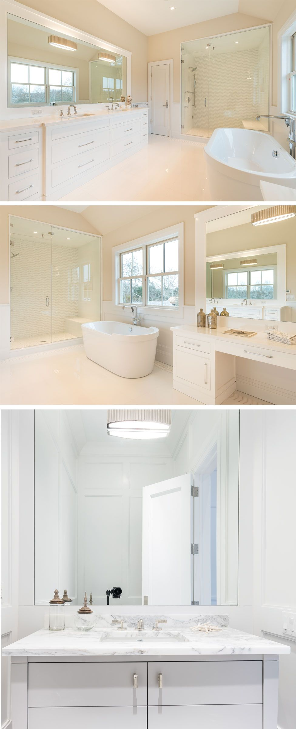 This luxurious, Hamptons, master bath has a cathedral ceiling, steam ...