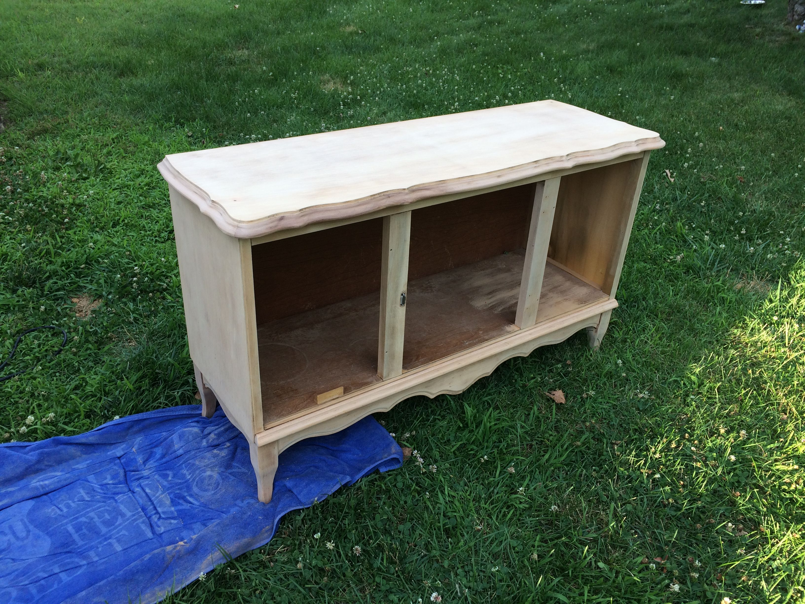 Cat Litter Box Furniture After Stripping It By Sanding It With A
