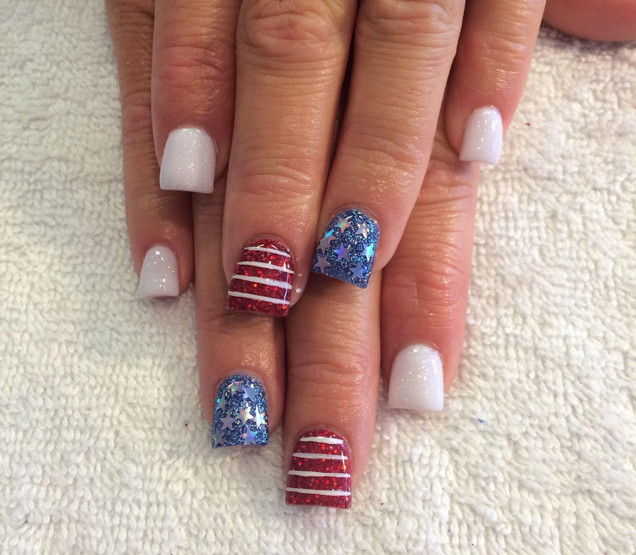 Patriotic Nails 4th Of July Acrylic Starsandstripes Glitter Salon Pure Beauty Sandy Ut July Nails Toe Nail Designs Nails