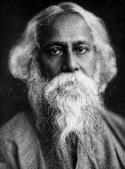 Rabindranath Tagore  fue un poeta bengalí, poeta filósofo del movimiento Brahmo Samaj (posteriormente convertido al hinduismo), artista, dramaturgo, músico, novelista y autor de canciones que fue premiado con el Premio Nobel de Literatura en 1913, convirtiéndose así en el primer laureado no europeo en obtener este reconocimiento.