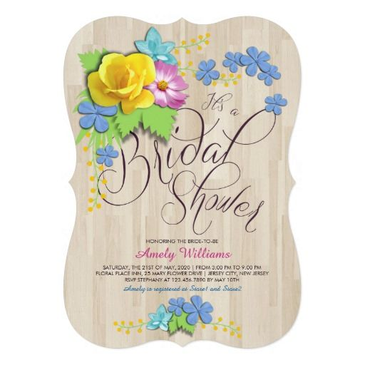 Customize this stylish #BridalShower #Invitation with pretty floral arrangement perfect for yellow, pink and blue themed rustic wedding.
