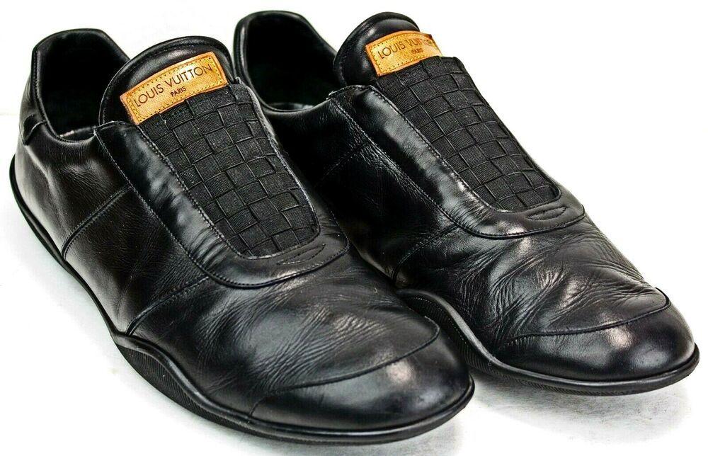 Louis Vuitton Paris Men's Black Leather Sneakers size 8