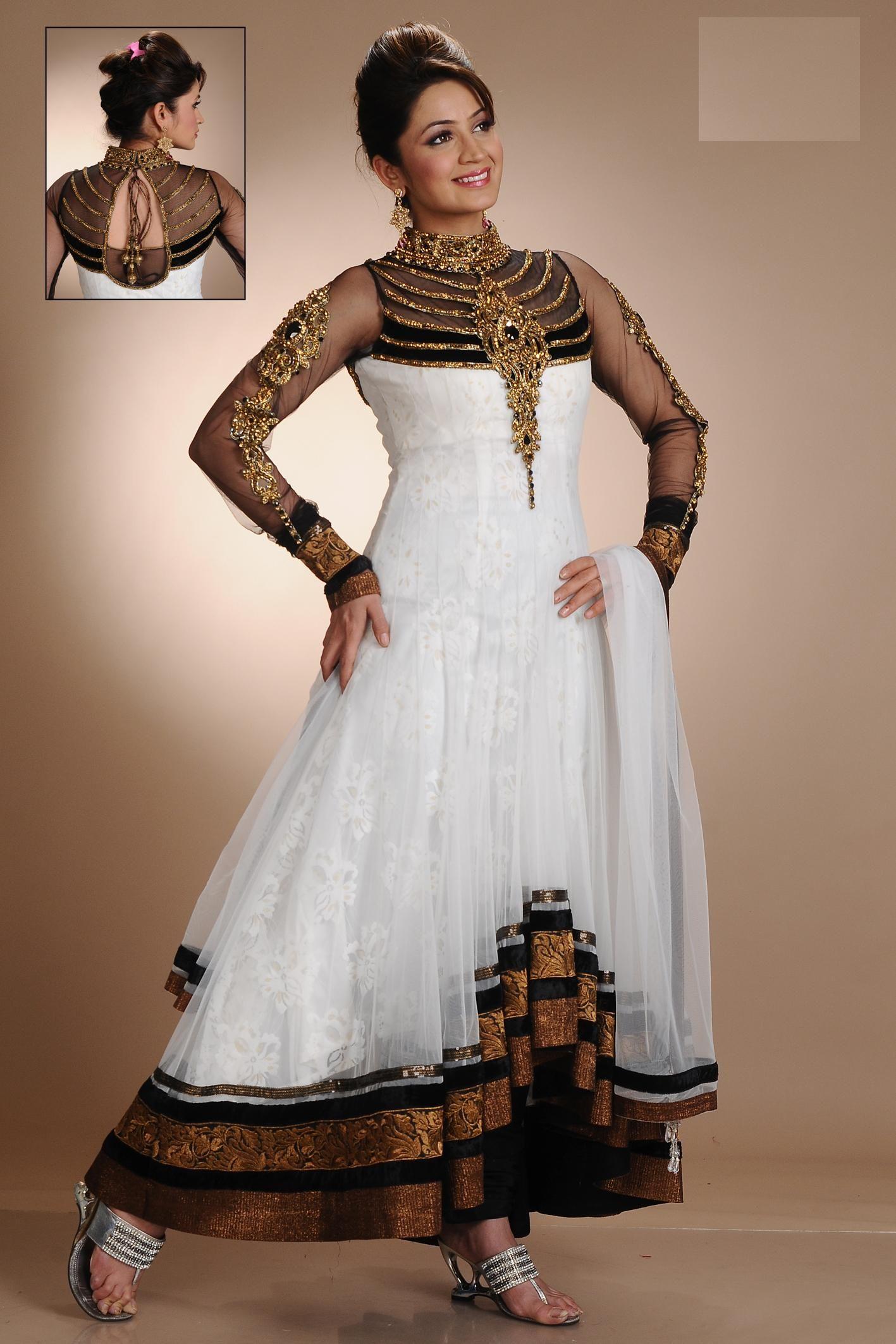 actress wearing a white color designer churidar anarkali ...