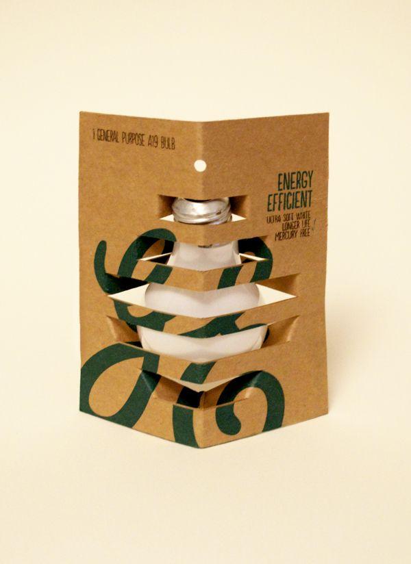 Environmentally Friendly Light Bulb Packaging by Esther Li, via Behance PD