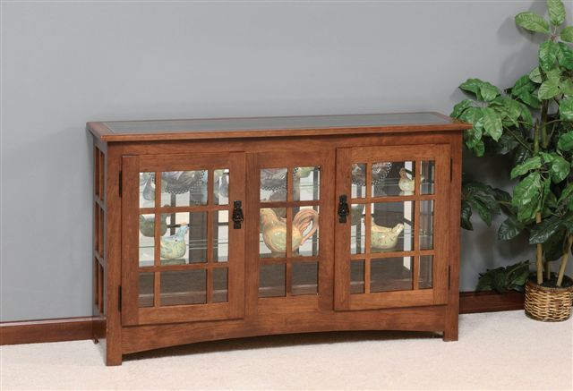 Amish Mission Style Large Console Curio Cabinet
