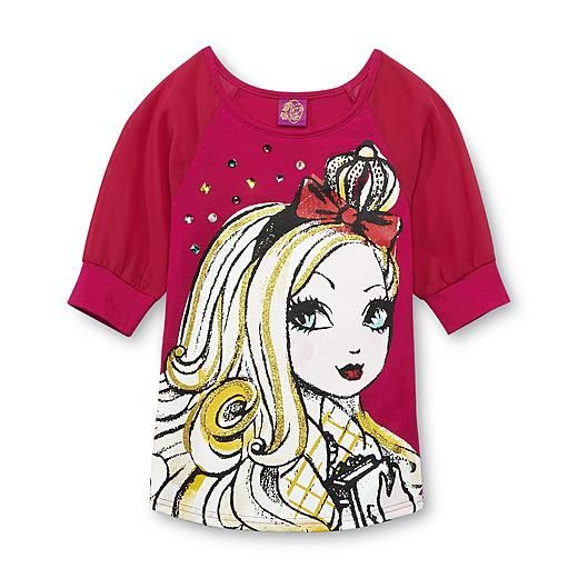Ever After High Girl's Dolman Top - Apple White