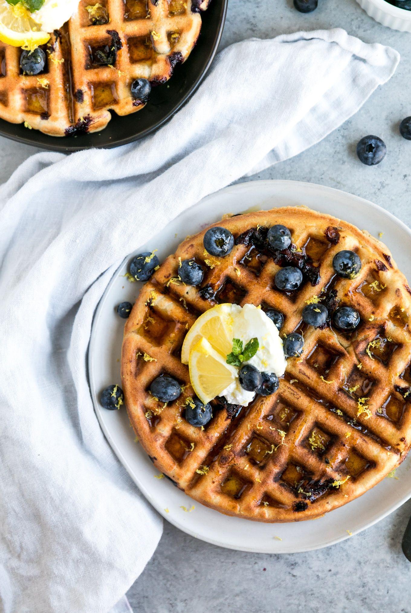 Lemon Blueberry Oatmeal Blender Waffles