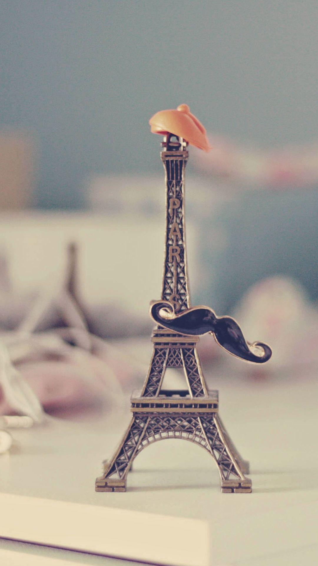 Eiffel Tower Moustache Hat Miniature Iphone 6 Plus Wallpaper