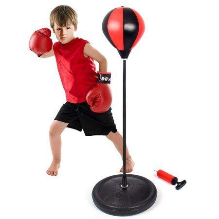 Height Adjustable Punching Ball Stand Punching Bag Freestanding Set Costzon Kids Boxing Set Hand Pump Boxing Gloves for Children Boys /& Girls