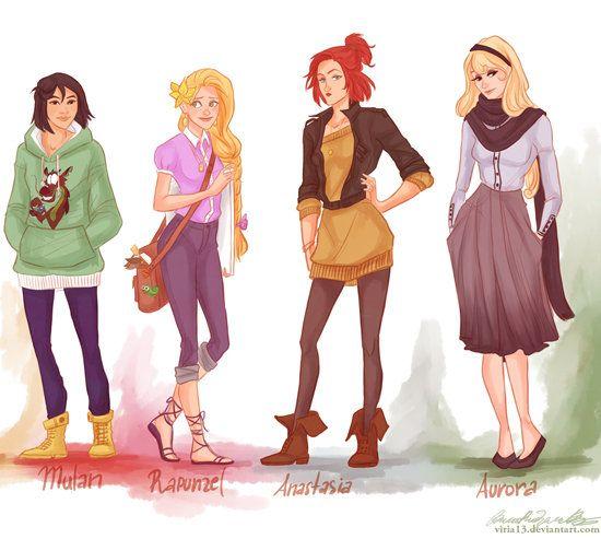 Hipster Mulan, Rapunzel, Anastasia, and Aurora