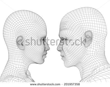 Concept or conceptual 3D wireframe human male or female head ...