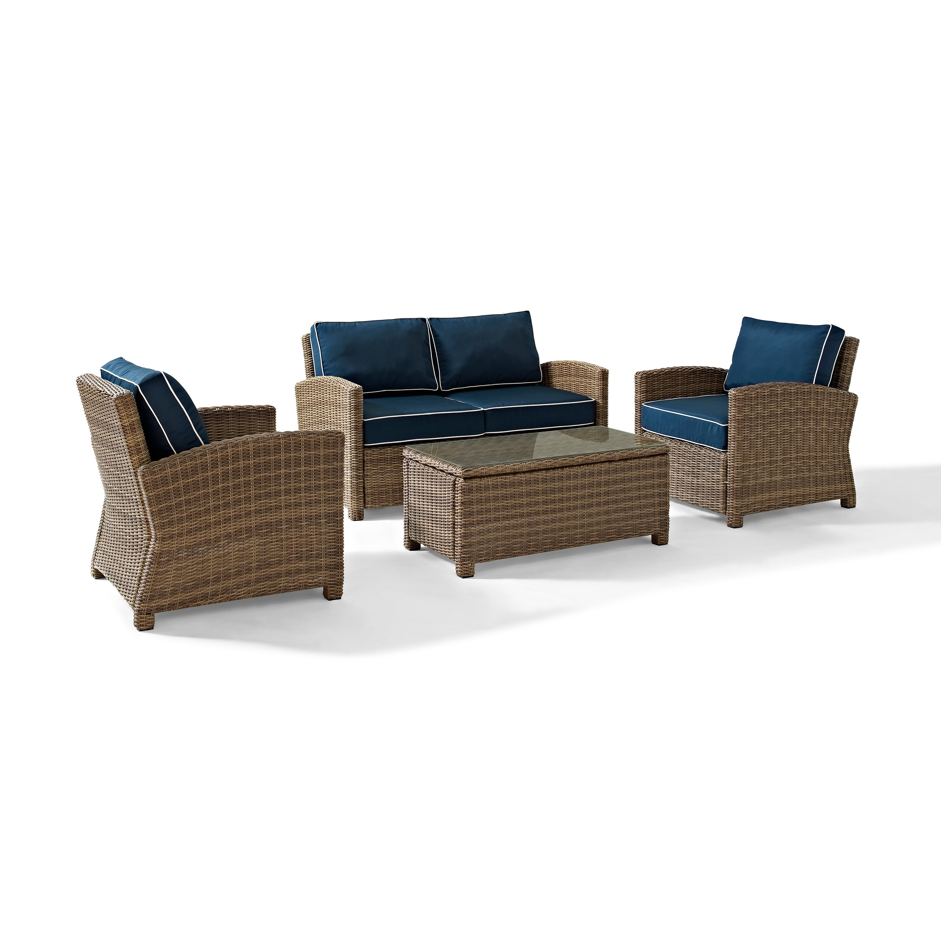 Navy And Brown Wicker Patio Furniture Loveseat Arm Chairs And
