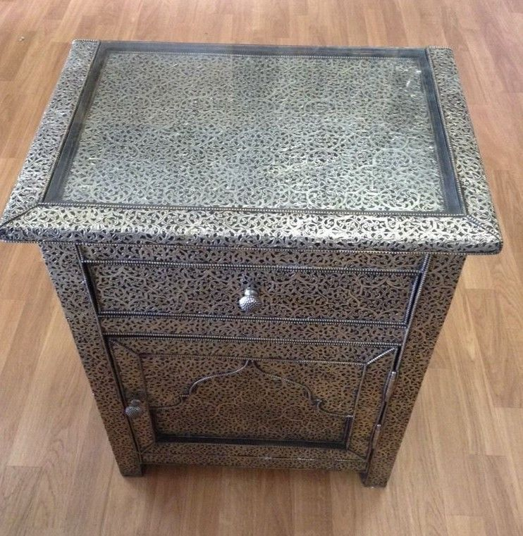 Moroccan Night Stand Table In Arabesque Carved Embossed Silver Metal Glass Top Handmade