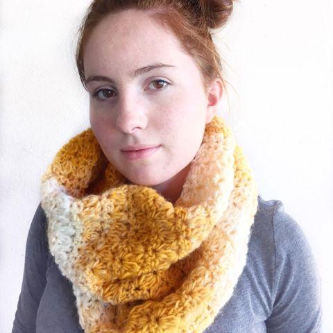 """Materials -One skein of Lion Brand Yarn """"Scarfie"""" in mustard/cream ..."""