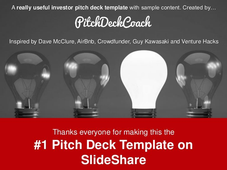 A Pitch Deck Template With Sample Copy To Help Technology Startups - Angel investor pitch template
