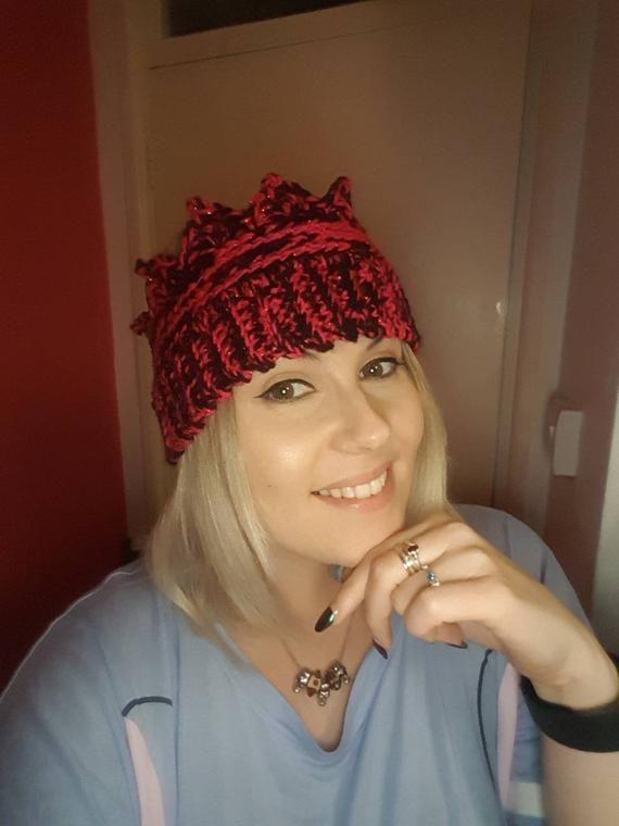 Handmade adult size king queen princess royal crown crochet ear muff ear warmer cold hat vegan gift #crownscrocheted
