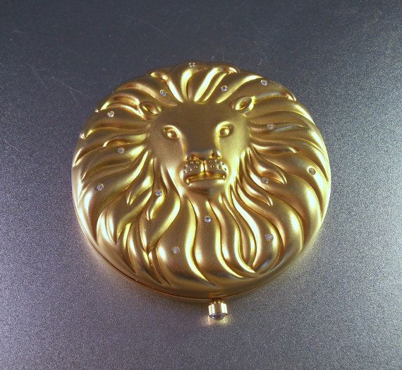 Estee Lauder Leo Zodiac Powder Compact, Gold Plated Rhinestones, Lucidity Pressed Powder