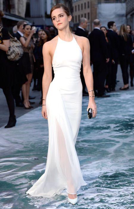 Emma Watson wearing white ralph lauren dress at the Noah premiere. www.handbag.com