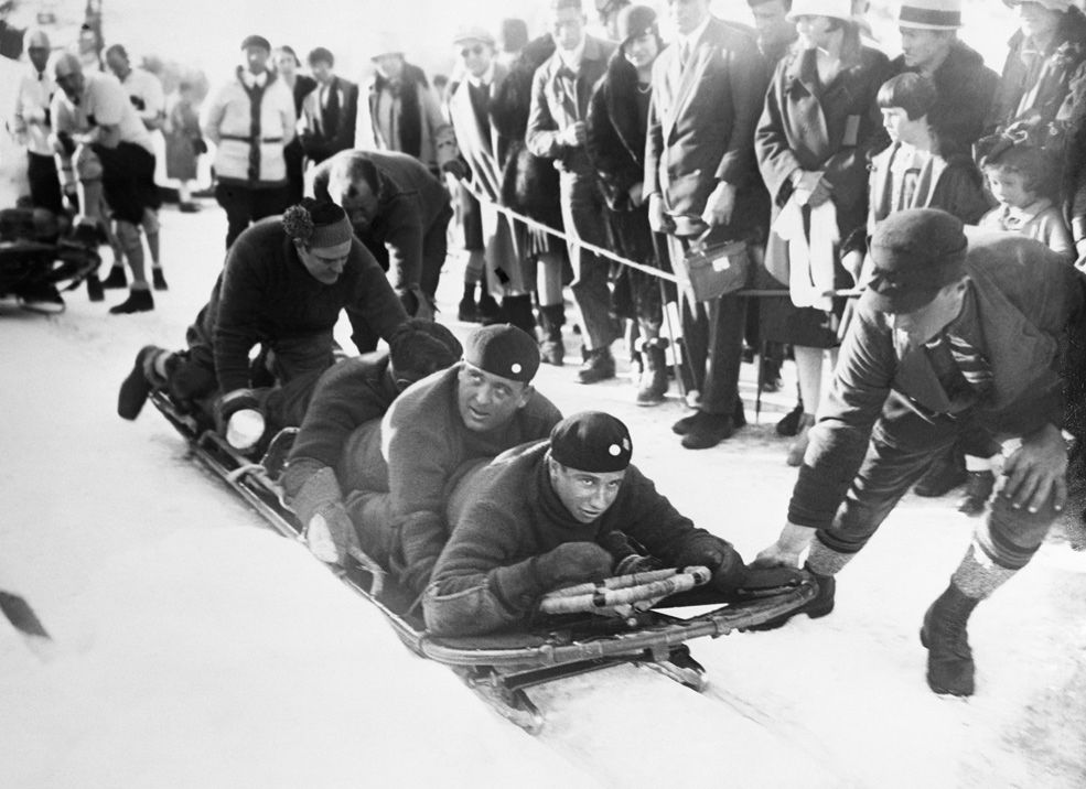 1928: The American bobsled team competes at St. Moritz, Switzerland. The U.S. won the skeleton event.