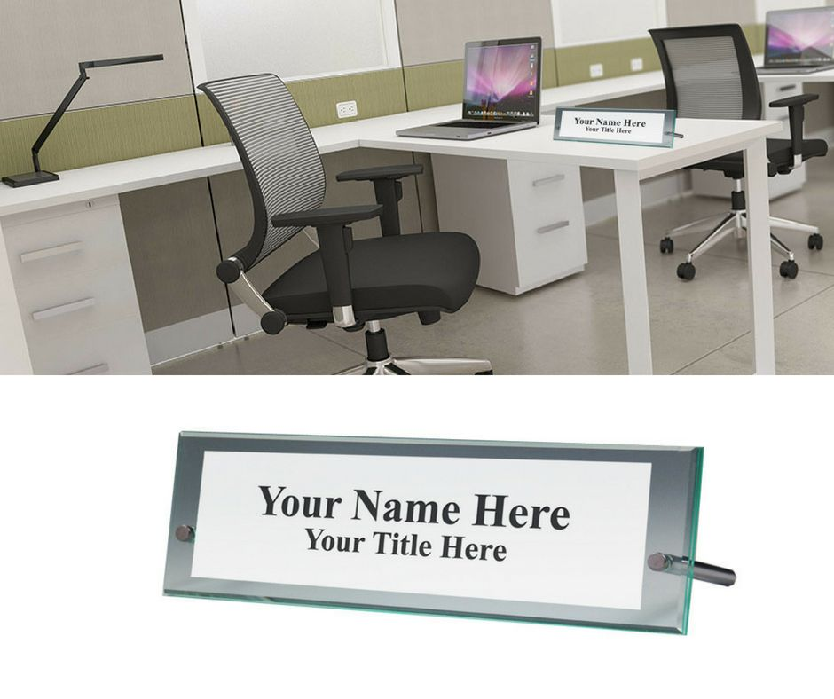 Glass Green Name Plate Holder Office Desk Name Plate Acrylic