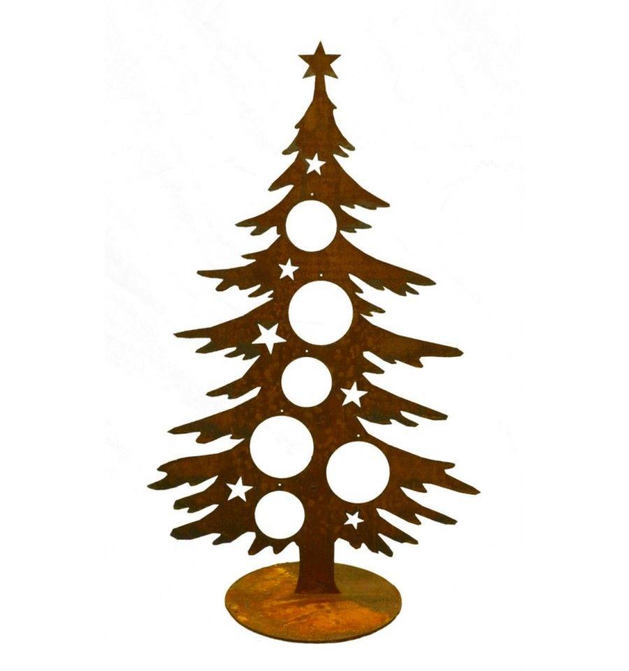 Edelrost Weihnachtsbaum 60 cm hoch für Christbaumkugeln